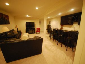 The Basic Basement Co._finished basement with half bath and bar_Washington Township-NJ_June 2015